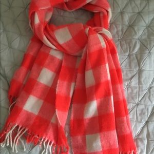 Accessories - Neon orange and white Checkered scarf